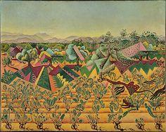 Vines and Olive Trees, Tarragona  Joan Miró (Spanish, Barcelona 1893–1983 Palma de Mallorca)  Date: 1919 Medium: Oil on canvas Dimensions: H. 28-1/2, W. 35-5/8 inches (72.5 x 90.5 cm.)