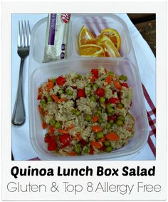 Quinoa Gluten Free & Allergy Friendly Ideas packed in @EasyLunchboxes Dairy Free Diet, Dairy Free Recipes, Healthy Recipes, Healthy Foods, Quinoa Gluten Free, Foods With Gluten, Vegan Lunch Box, Dinner Dishes, Food Allergies