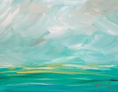 Original Acrylic Abstract Landscape Painting 11x14 Seascape Green Blue Coastal Beach Painting Stretched Canvas