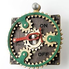 """Steampunk Switches  """"Inspired by steampunk aesthetics, these unique light switch plates turn on and off the lights by starting the motion of intricate gears and levers. Most of them require a cranking action to get them started.""""  http://www.trendhunter.com/trends/green-tree-jewelry-light-switch-plates#!/photos/158646/1  Amanda Patterson - Google+"""