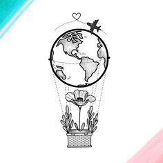 Simple line art drawing aeroplane line art Hot air balloon work drawing. Simple line art drawing aeroplane line art Cute Drawings, Tattoo Drawings, Drawing Sketches, Drawing Ideas, Drawing Journal, Drawing Drawing, Simple Art Drawings, Globe Drawing, Sketch Journal