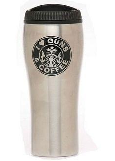"""I Love Guns & Coffee"" Stainless Steel Tumbler/Travel Mug"