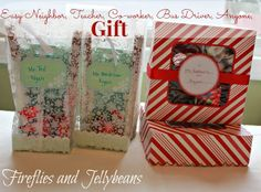 Fireflies and Jellybeans: Easy Teacher/Neighbor/Co-worker/Anyone gifts! #12MonthsofMartha Diy Craft Projects, Crafts, Fireflies, Gifts For Coworkers, Jelly Beans, Treat Bags, Cookies Et Biscuits, Diy Gifts, 12 Months