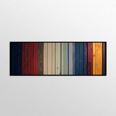 """Natural Wood Wall Art - Gradient II - Reclaimed Wood Stripes in Reds, Yellows, Blues, and Greens Wall art is approximately 16"""" x 55"""". If you'd like a different size than shown please contact me and we"""