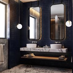 "Mirrors, pendant lights  First Sense on Instagram: ""Bathroom by @echelle_architects 💙"" Bathroom Pendant Lighting, Industrial Bathroom, Modern Bathroom, Small Bathroom, Master Bathroom, Pendant Lights, Bathroom Styling, Bathroom Interior Design, Decor Interior Design"