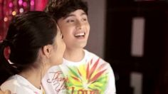 """This is the lovely Nadine Lustre and the handsome James Reid staring at each other and smiling for the camera while singing """"Tuwing pasko, oh woah, oh woah, Mas ramdam mo, oh woah, oh woah, Dama sa ating tinig ang init ng pag-ibig, oh woah woah"""" during the taping and recording of the 2015 ABS-CBN Christmas Station ID, """"Thank You for the Love!"""" #NadineLustre #JamesReid #JaDIne #ThankYoufortheLove #ABSCBNChristmasStationID"""