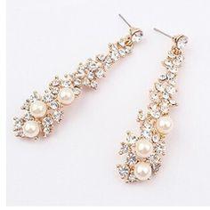 2015 women Fashion long pearl earrings jewelry珍珠长款耳环