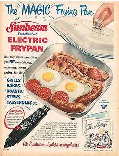 Original SUNBEAM AD FRYPAN  1950s Australian Vintage Print Advertising SSV Old Advertisements, Retro Advertising, Retro Ads, Vintage Ads, Vintage Posters, Vintage Food, Vintage Labels, Kitchen Queen, Australian Vintage