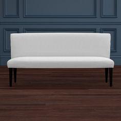 Williams Sonoma Home Fitzgerald Bench 75w 26depth 35 height white linen, espresso legs