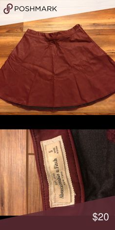 a7a85a0dabbac Abercrombie   Fitch faux leather Maroon Skirt Up for sale are 2 size s  Abercrombie and