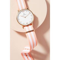 Kapten & Son Peach Striped Watch ($158) ❤ liked on Polyvore featuring jewelry, watches, peach, dot jewelry, beach jewelry, palm tree jewelry, palm jewelry and peach jewelry