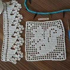 SARDIRMALI PEÇETE DANTELİ TARİFİ VE TIĞ ÖRGÜLER | Nazarca.com Crochet Boarders, Crochet Motif Patterns, Filet Crochet Charts, Crochet Squares, Crochet Designs, Knit Or Crochet, Crochet Baby, Crochet Numbers, Baby Booties Knitting Pattern