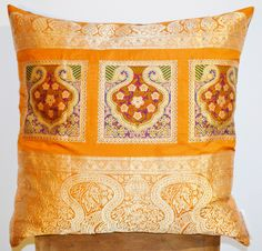 CUSHION 100% SILK  GOLD EMBRODERY 50x50 via DARAM COLLIN DESIGN. Click on the image to see more!
