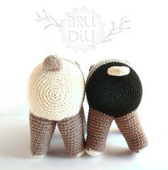 Handmade eco-cotton yarn crochet animal / Soft toy with a bag / Ós bru / Brown bear / Oso pardo Crochet Bear, Crochet Animals, Diy Crochet, Crochet Dolls, Crochet Hats, Crochet With Cotton Yarn, Cotton Bag, 4 Kids, Diy Kits