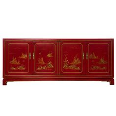 1stdibs.com | Red Lacquer Chinoiserie credenza by John Widdicomb
