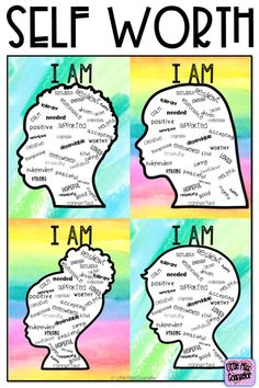 "Self Worth ""I Am"" Posters and Writing with Editable Text for School Counselors Self Worth ""I Am"" Posters and Writing with Editable Text for School Counselors,Classroom ideas Related posts:Social Emotional Learning Growth Mindset Poster! Group Counseling, Counseling Activities, Art Therapy Activities, Learning Activities, Elementary Counseling, Counseling Posters, Diversity Activities, Middle School Counseling, Social Skills Activities"