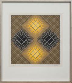 Victor Vasarely: Geometrisk composition, färgserigrafi, 51,5x51,5 cm, edition 250 - Bukowskis Market 2014