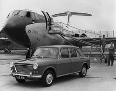 Promotional photo for the new Austin pictured at Brooklands airfield adjacent to BOAC Standard (Series G-ARTA - geddit? Kestrel, Vickers Vc10, Old Bangers, Auto Journal, Automobile, Traction Avant, Ford, Austin Healey, Commercial Vehicle