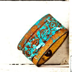 turquoise gypsy leather cuff Nice and Pretty +dreadstop @DreadStop