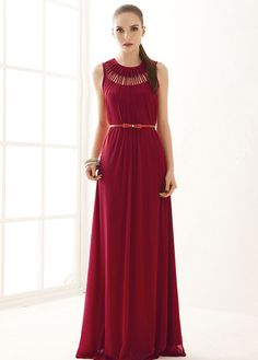 Goddess Style Long Pattern Solid Red Chiffon Prom Dress with Hollow Design