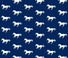 White Pony on Navy fabric by thistleandfox on Spoonflower - custom fabric