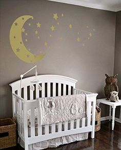 Moon And Stars Night Sky Vinyl Wall Art Decal Sticker Design For Nursery  Room DIY Mural