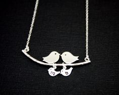 Bird necklace two initial baby  birds family necklace by chiky, $33.00