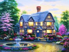 country_cottage_garden_painting_trees_house_hd-wallpaper-gafu.jpg (1600×1200)