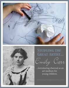 Studying the Great Artist Emily Carr…Introducing Charcoal as an Art Medium for Young Children. Artists For Kids, Great Artists, Art For Kids, History Projects, Art History, Art Projects, Drawing Projects, Charcoal Art, Charcoal Drawings