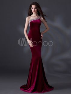Elegant Burgundy One-Shoulder Beading Mermaid Velvet Evening Dress & Wedding > Occasion Dresses > Evening Dresses Bridal Dresses Online, Evening Dresses Online, Designer Evening Dresses, Evening Gowns, Dress Online, Prom Party Dresses, Ball Dresses, Occasion Dresses, Ball Gowns