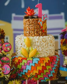 The popcorn cake for the June party table is an ornament that is very successful, because it makes the decoration more beautiful, creative and charming. How To Make Popcorn, How To Make Cake, Popcorn Cake, Cake Templates, Birthday Cake, Birthday Parties, Small Cake, Happy B Day, Malu