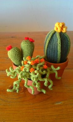 """With """"Crochet"""" fine yarn is knitted with a curved knitting needle. Crochet Tree, Crochet Fruit, Crochet Cactus, Cute Crochet, Crochet Yarn, Crochet Flower Patterns, Crochet Flowers, Yarn Crafts, Diy And Crafts"""