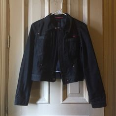 Navy blue Demin jacket 70% cotton, 28% polyester and 2% spandex. Size small (true to size), copper colored hardware and snaps with bcbg written on them. Zipper closure up the chest. Excellent used condition. BCBGMaxAzria Jackets & Coats Jean Jackets