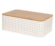 Bread box Grid tin black & white 32,5 x 21 x 11,5cm. #pt #presenttime