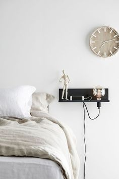 A bedside table lamp near the bed Bedroom Apartment, Home Decor Bedroom, Bedroom Ideas, Scandinavian Interior Bedroom, Piece A Vivre, Diy Bed, Bedroom Styles, Dream Bedroom, My Room