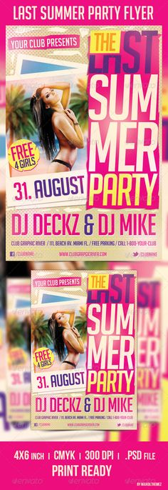 Last Summer Party Flyer Template A good way to promote your last summer/beach party in your place!      1 PSD file     well layered     easy editable text     4×6 inch + 0.25 inch bleed     1275 px X 1875 px     300dpi     CMYK     Print ready
