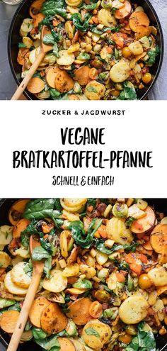 Vegane Bratkartoffel-Pfanne mit Gemüse Quick recipe for vegan fried potatoes Rezepte Quick Recipes, Quick Easy Meals, Easy Dinner Recipes, Healthy Dinner Recipes, Breakfast Recipes, Vegetarian Recipes, Dinner Ideas, Easy Dinners, Quick Vegan Meals