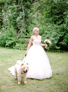 Bride with her dog | Olga Plakitina Photography | see more on: http://burnettsboards.com/2015/12/classic-wedding-peach-gray/