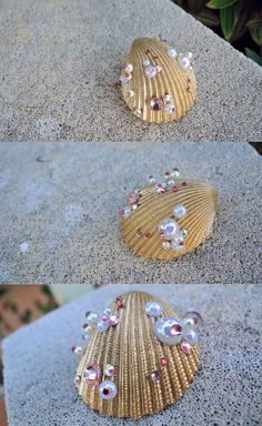 Golden Sea Shell HairClip adorned with pearls & by FairytaleHollow, $15.00
