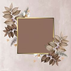 Square foliage frame on brown background vector | premium image by rawpixel.com / Adj Framed Wallpaper, Flower Background Wallpaper, Flower Backgrounds, Red Background, Background Patterns, Wallpaper Backgrounds, Vector Background, Fond Design, Bg Design