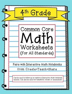 This product is now included in a BUNDLE! Grade Interactive Math Notebook {BUNDLED} I created these Common Core Math Worksheets to pair with my Interactive Math Notebooks for grade. I also created these worksheets for grade to use with my own students. Math Tutor, Teaching Math, Teaching Ideas, 3rd Grade Math Worksheets, Math Assessment, Primary Teaching, School Worksheets, Math Class, Fifth Grade Math