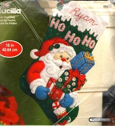 "BUCILLA ""SANTA'S GIFTS"" BEADS & SEQUINS CHRISTMAS STOCKING FELT KIT ~ SEALED #BUCILLA"