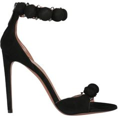 Alaia Studded suede sandals found on Polyvore featuring polyvore, women's fashion, shoes, sandals, black, suede shoes, zipper sandals, ankle wrap sandals, studded sandals and black shoes