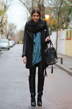 love the layering of the long shirts and jacket with the sleek pants and rifing boots