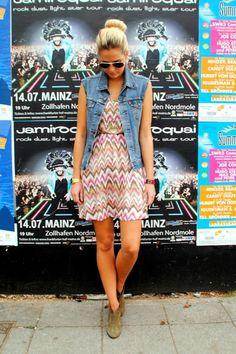 chevron dress and denim vest - choose dress with sleeves and longer hem