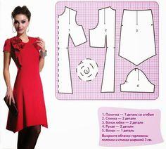 DICA DE COSTURA DE FIFIA  vestido vermelho com molde Confección De Vestido 63dd3c314ae