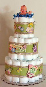 Tier Diaper Cake Flower Love Peace Child Hippie Baby Shower cakepins.com