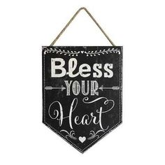 """Sayings Hanging Wall Decor MDF """"Bless Your Heart"""" Sign w/ Jute String"""