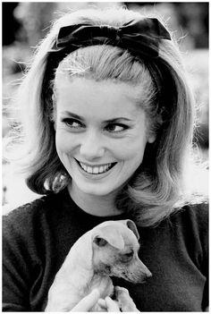Catherine Deneuve holding a puppy  1962