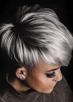 Short Platinum Blonde Hair, Short Silver Hair, Silver Blonde Hair, Short Grey Hair, Short Hair Cuts, Short Hair Styles, Black Hair, Short Hair 2016, Color For Short Hair